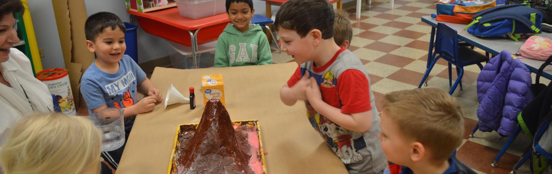 Volcano experiment with pre-kindergarten enrichment